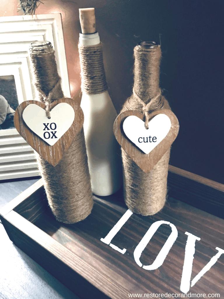 wine bottle project diy dollar store twine