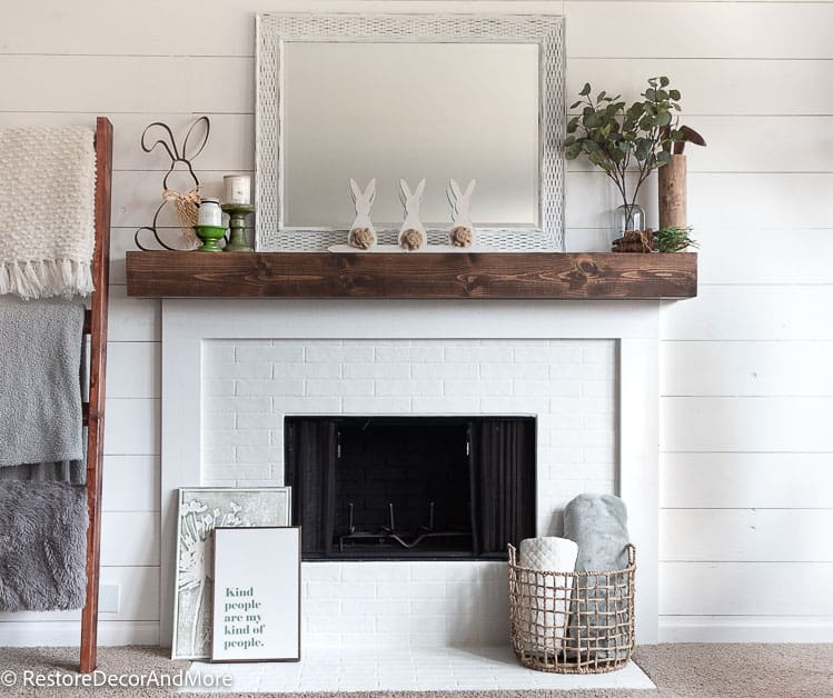 DIY Faux Brick Fireplace decorated for easter