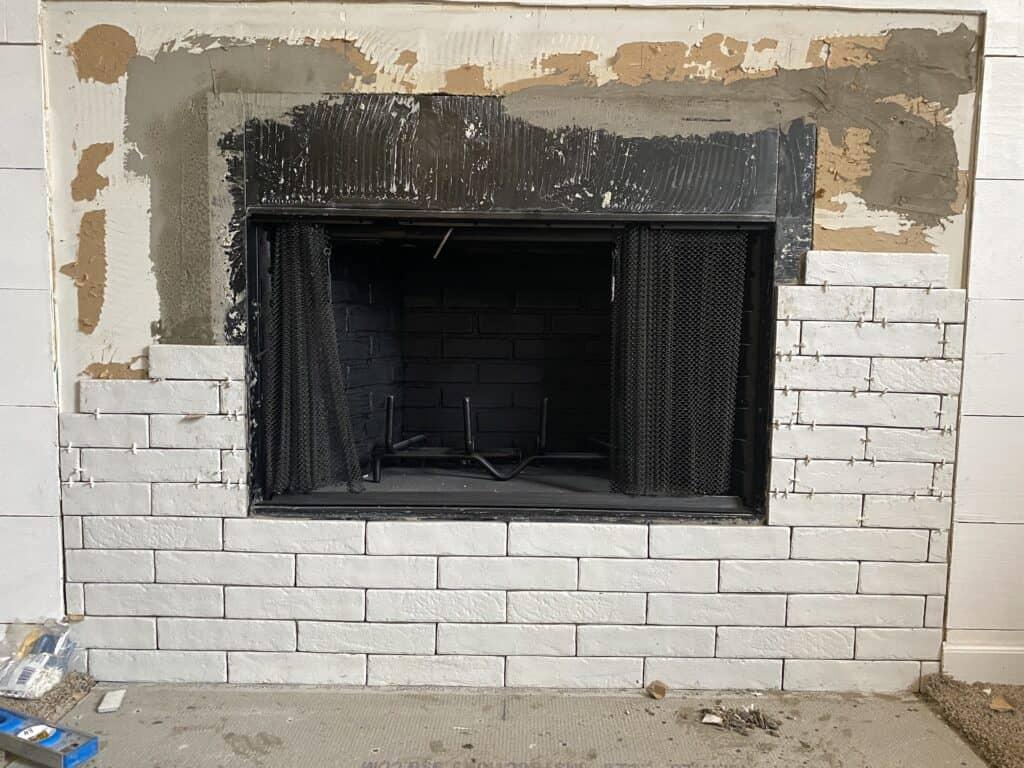 faux brick Fireplace white brick tile install process