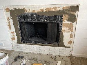 faux brick fireplace tile - beginning rows