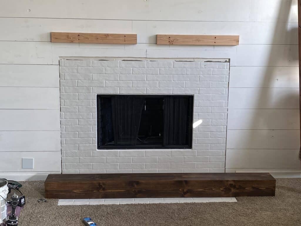 faux brick fireplace mantel 2x4 pre-mount