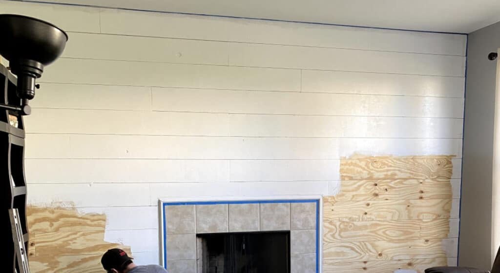 paint plywood on wall white shiplap