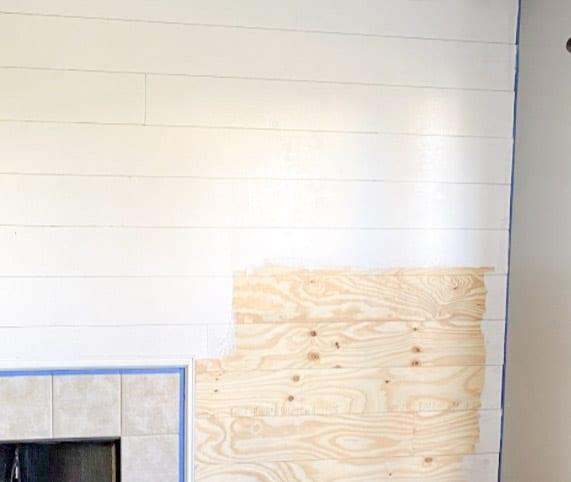 paint plywood shiplap white