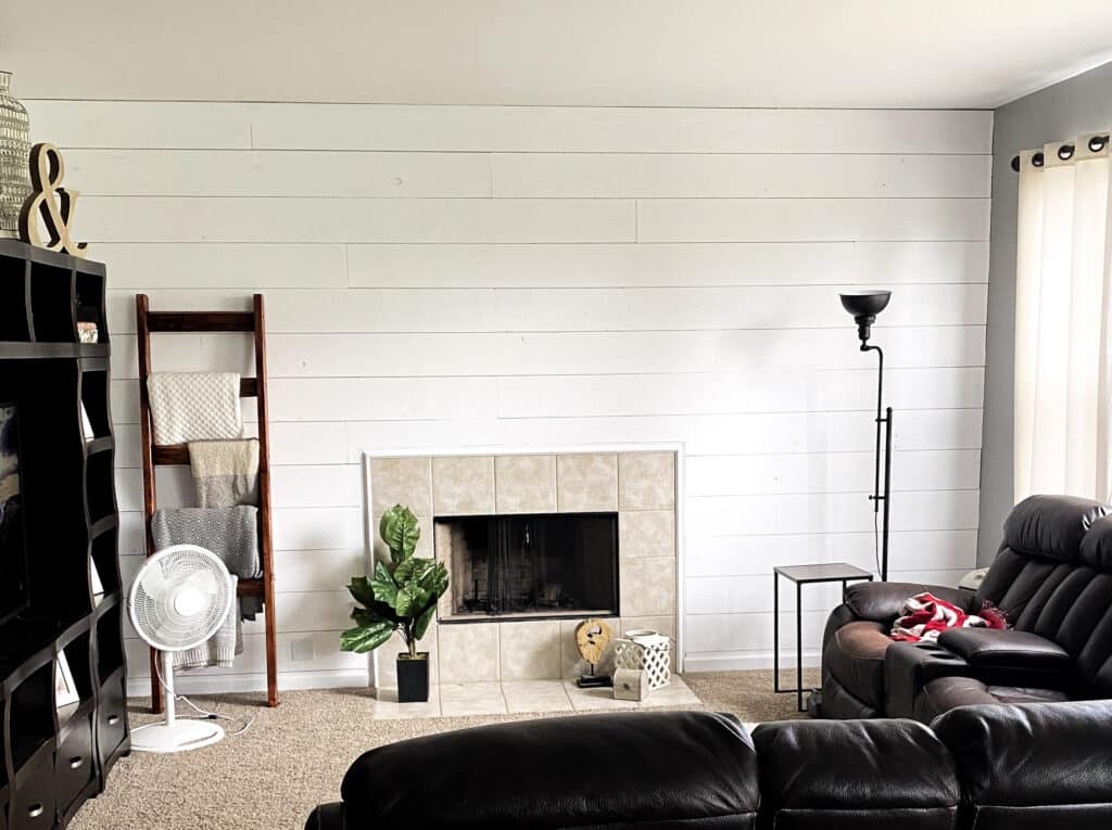 white shiplap wall complete diy using plywood