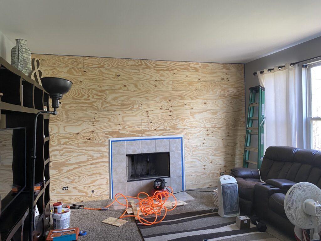 Shiplap wall diy plywood before paint