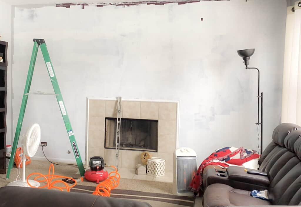 paint wall before installing shiplap
