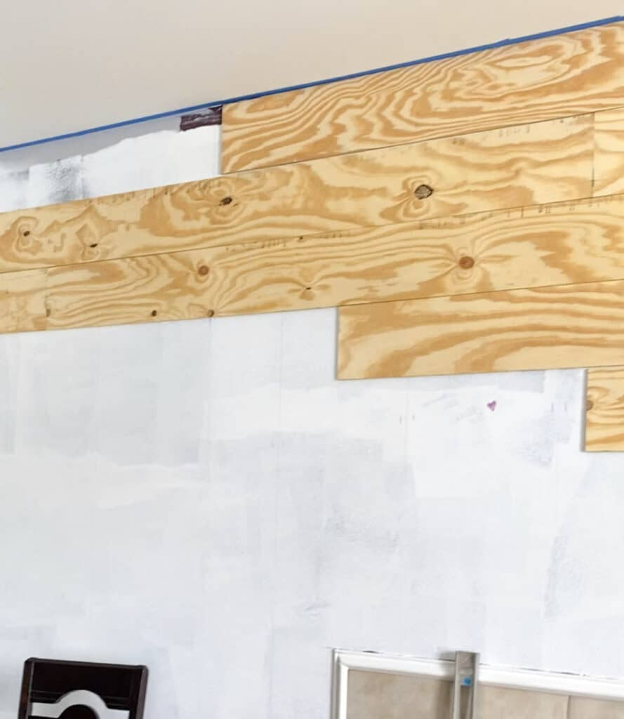 Plank wall using plywood staggered