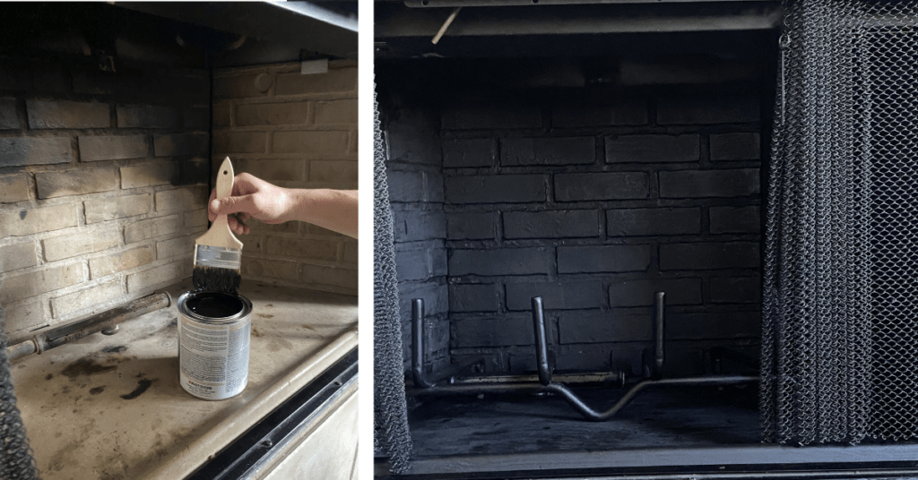 DIY paint the inside of fireplace black with high heat paint