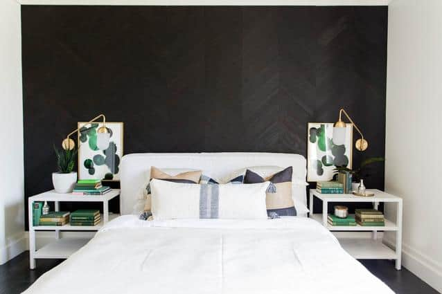 black accent wall using textured wallpaper