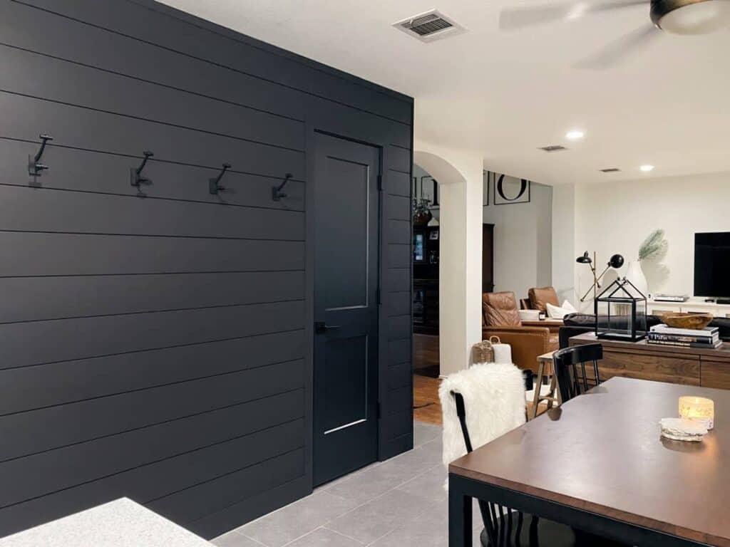 black shiplap diy accent wall