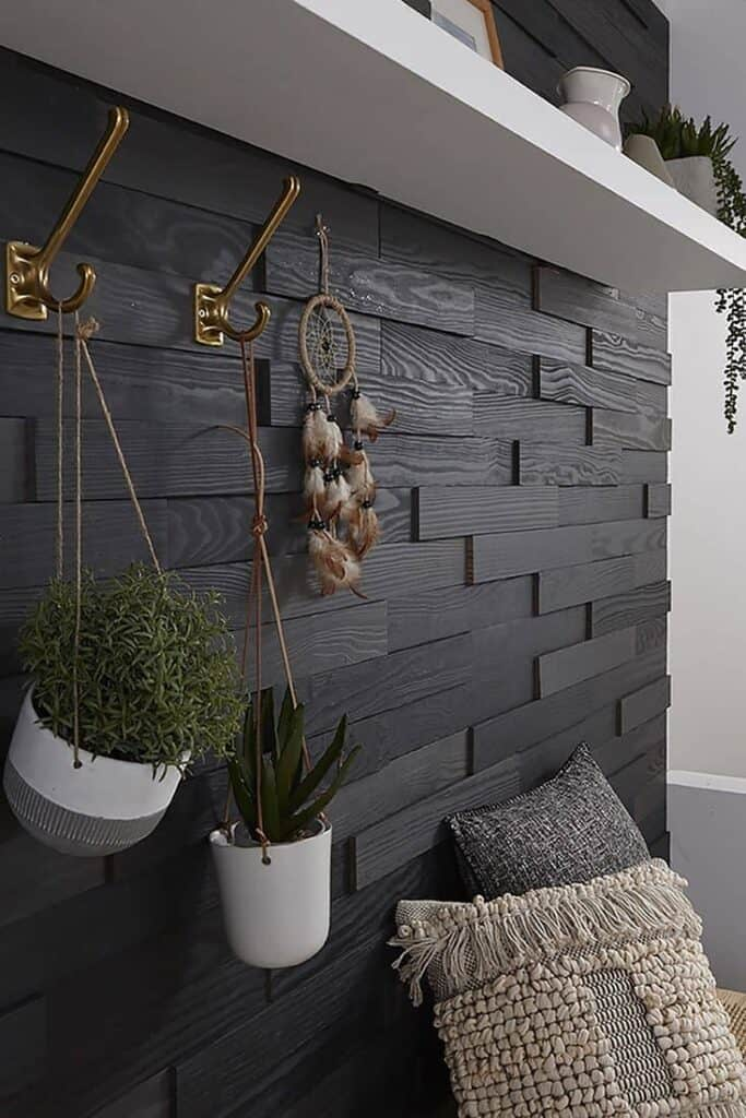 diy accent wall textured black wood