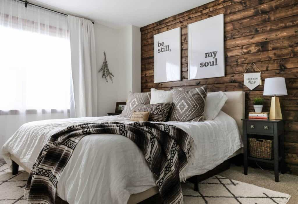 Stained plank wood diy accent wall