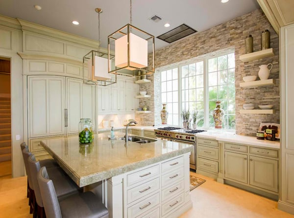 stone accent wall in kitchen