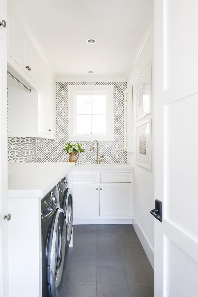tile diy accent wall in laundry room