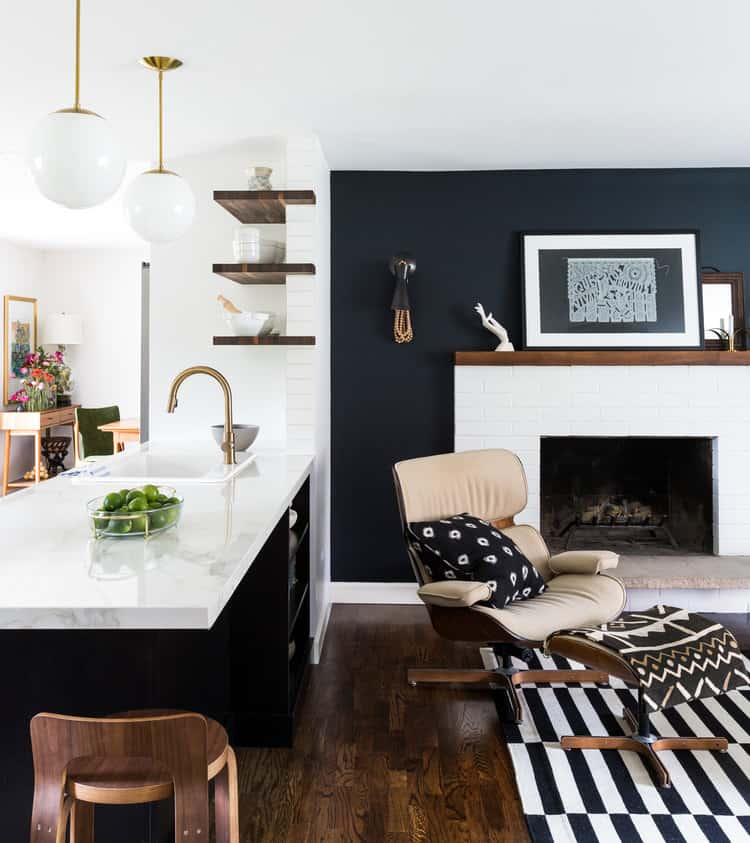 Black accent wall in living room