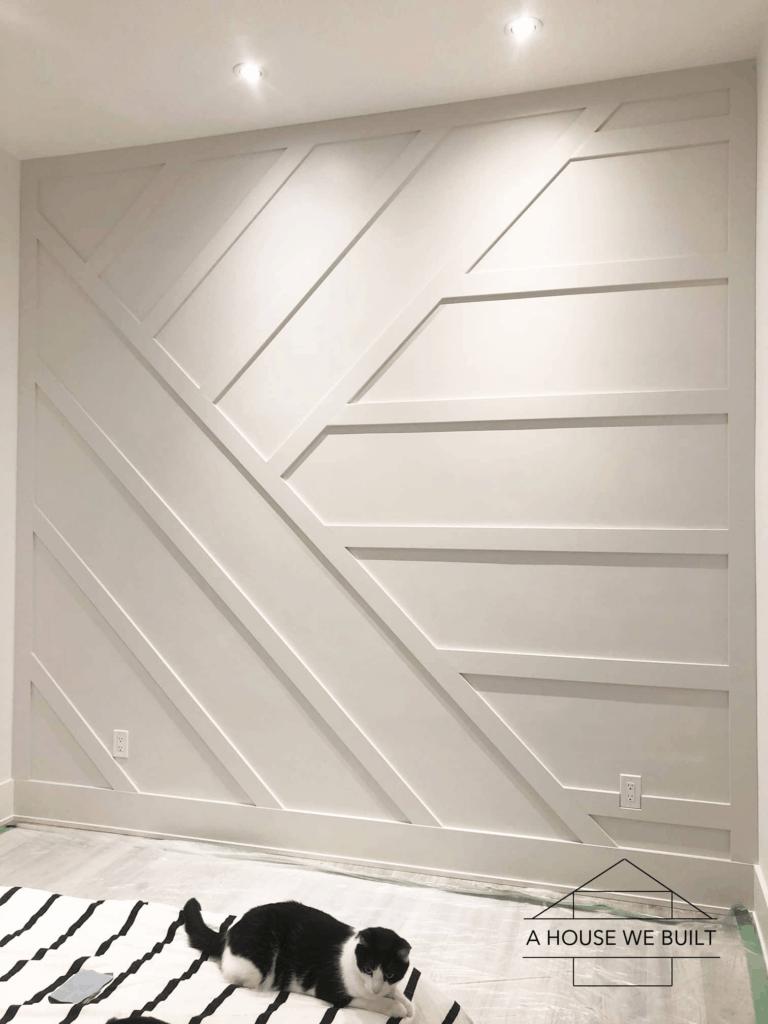 White batten board wall geometric shape