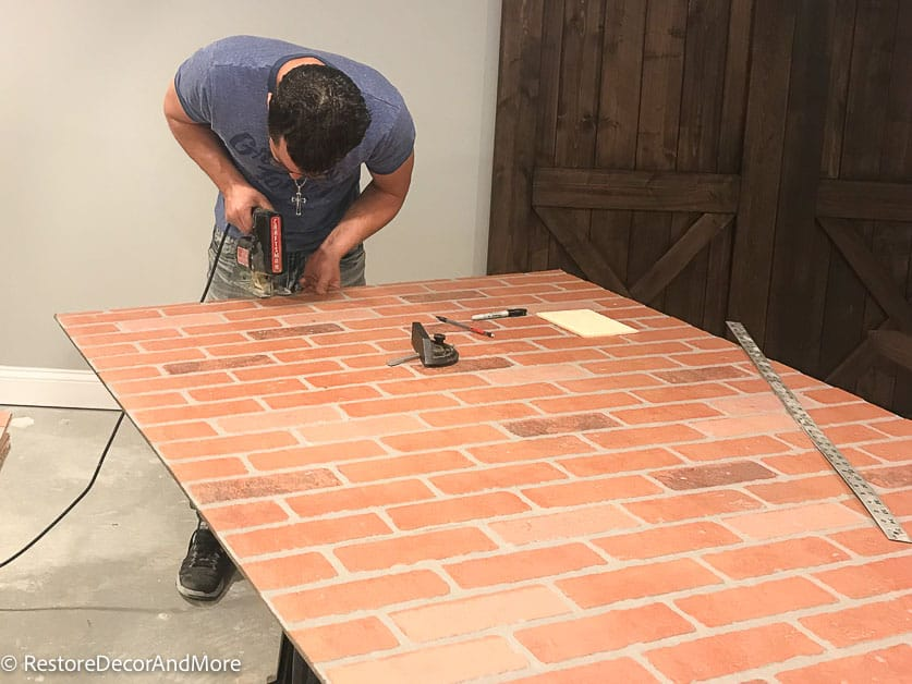 Cut brick panel with jigsaw