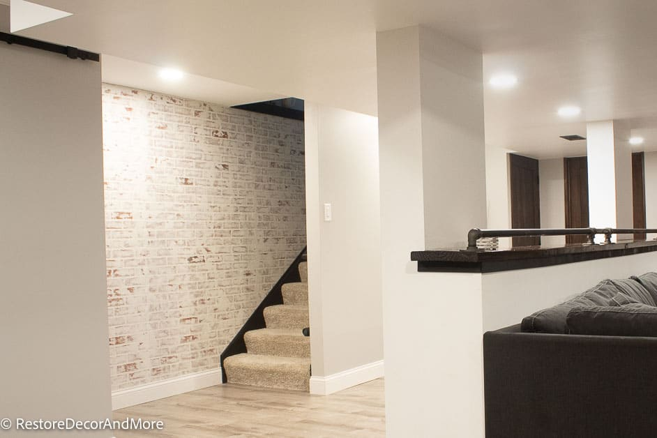 Faux brick wall going up stairs