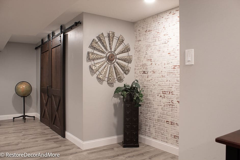 DIY PROJECT - Globe on stand, double barn doors and faux brick wall in finished basement