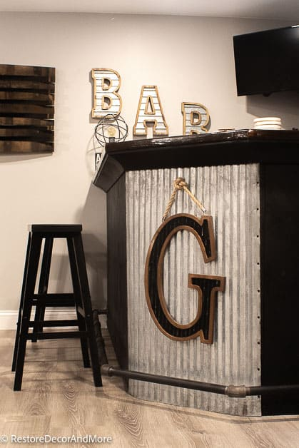 Corrugated Metal Front on dry bar
