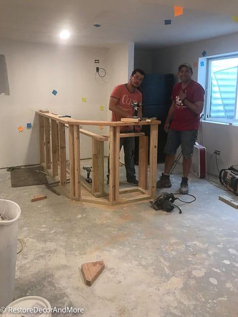 Frame basement dry bar