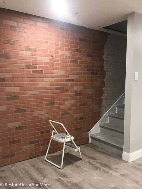 faux brick wall half German schmear