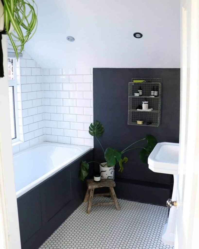 Bathroom with black wall and white subway tile