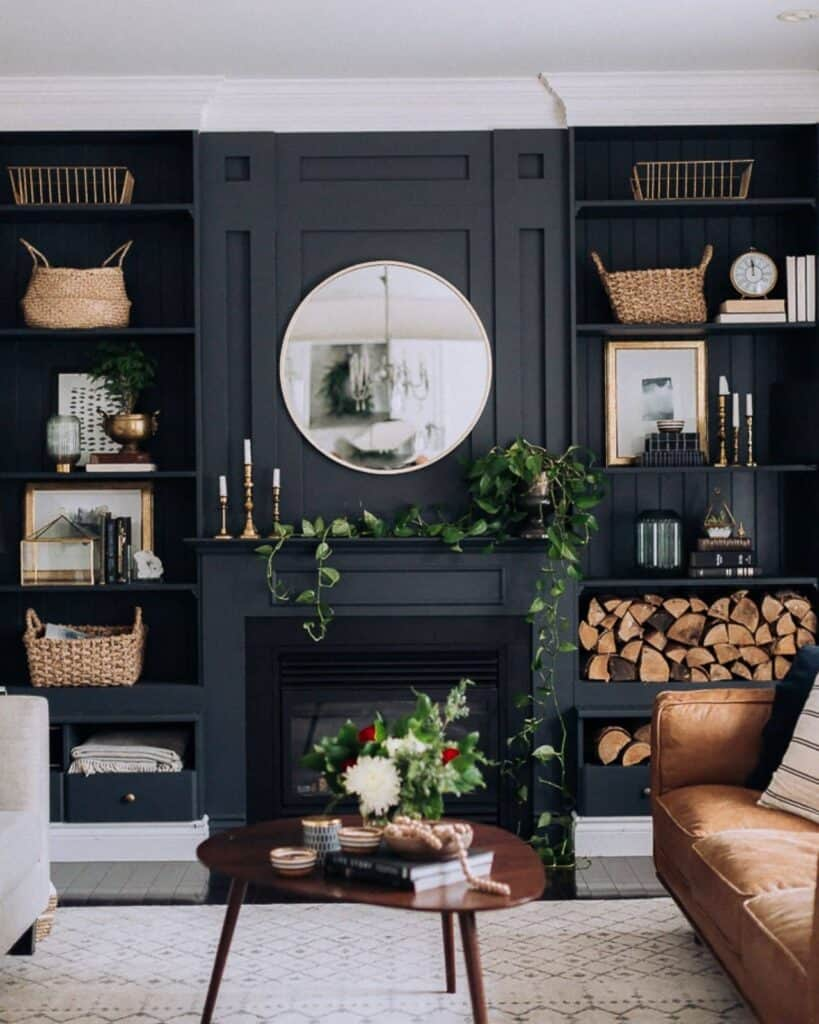 Black Painted Built-In Bookshelves around fireplace