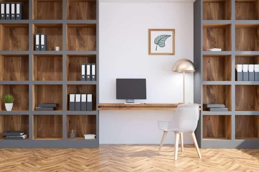 Built in bookshelves for home office