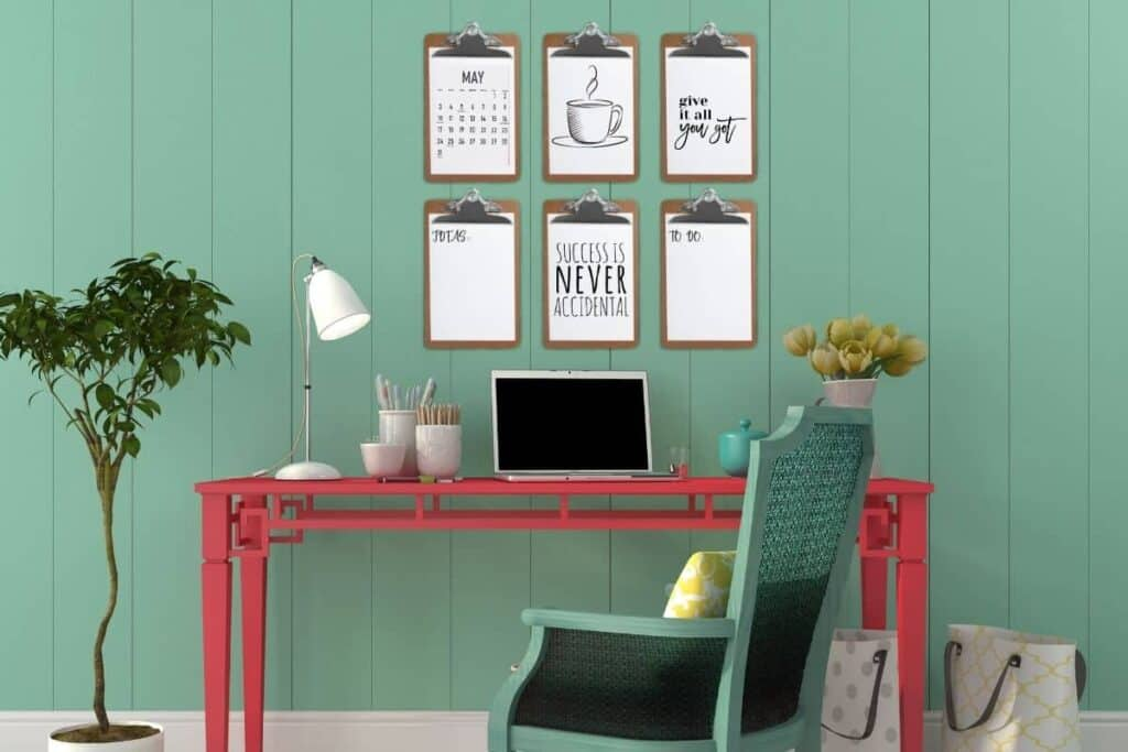 clipboards hung on wall in home office