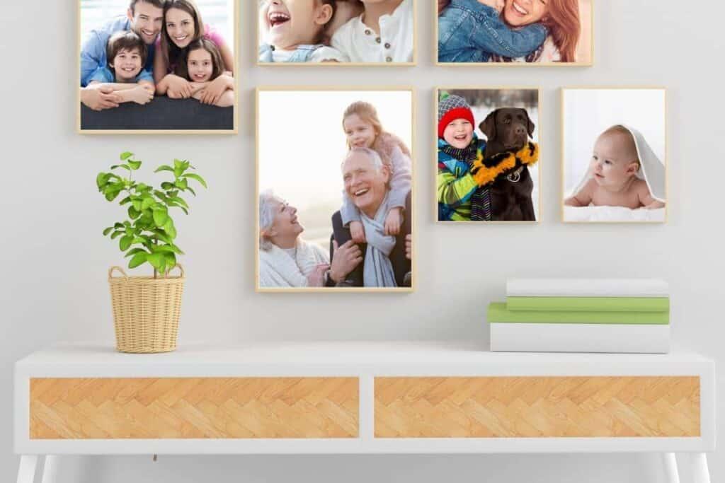 framed family photos on home office wall
