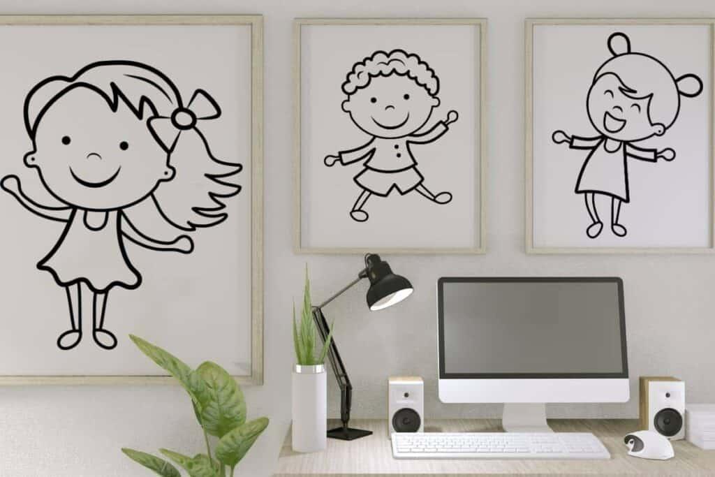 kids artwork framed on wall in home office