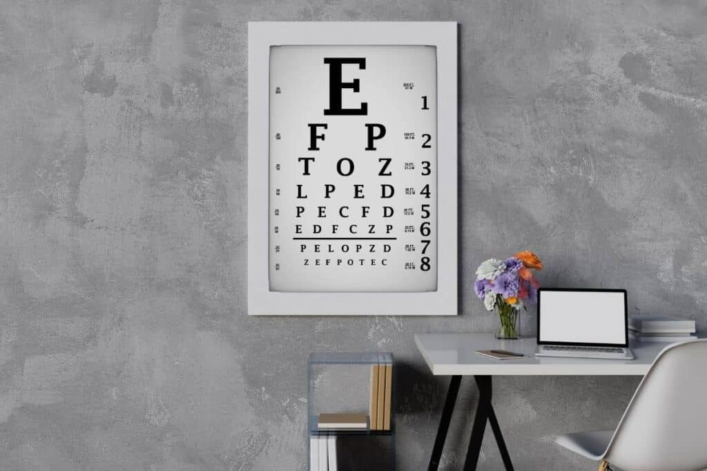 Large Eye chart on wall behind desk of home office