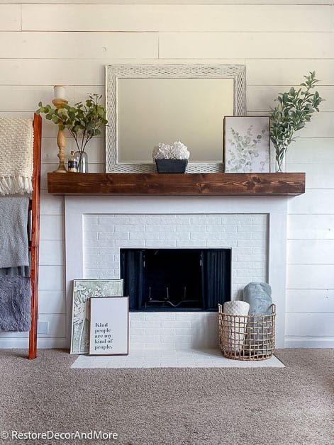Faux Brick Fireplace With Decorations