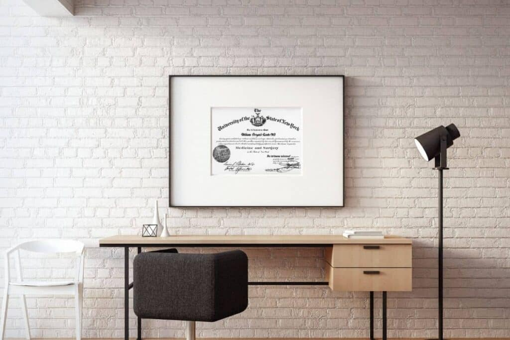 framed achievement award in home office