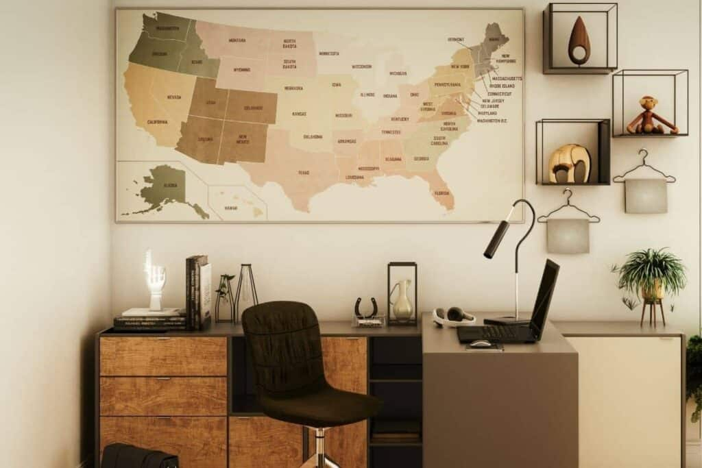 large use map on wall behind desk in home office