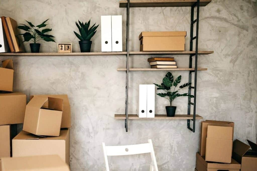 Metal shelves in home office
