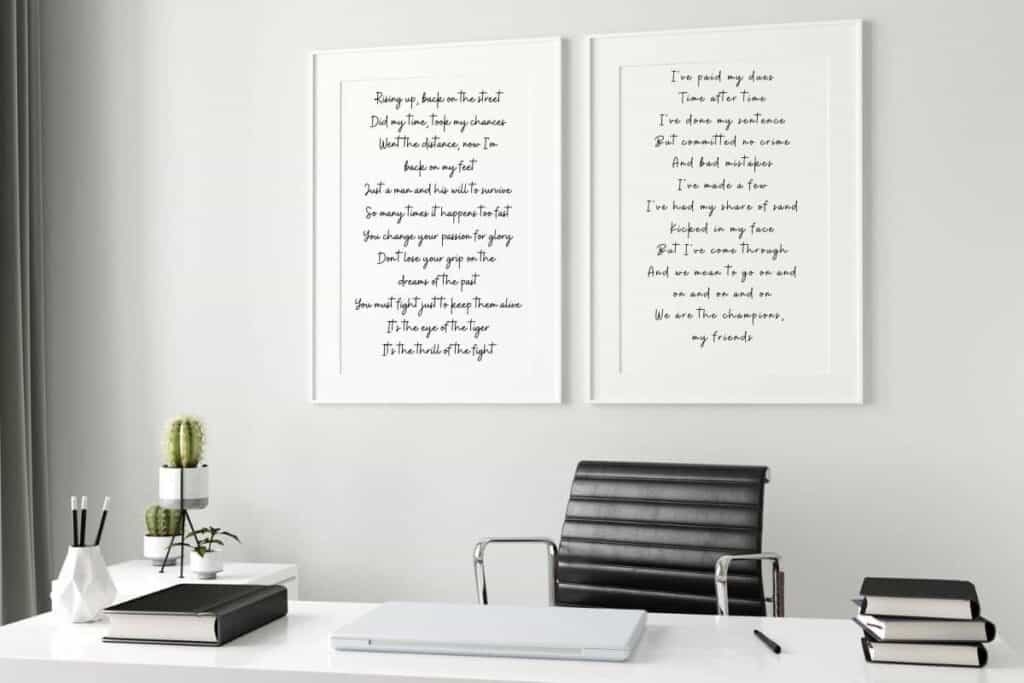 song lyrics in white Frame on wall in home office