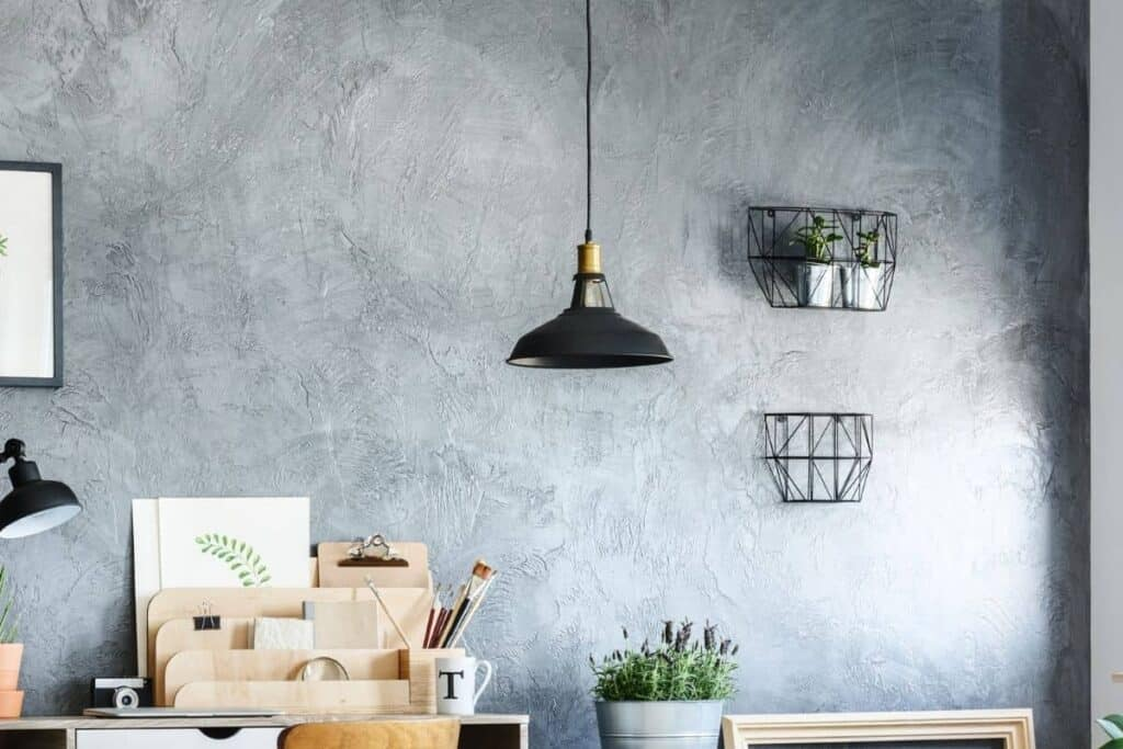 wire baskets on wall in home office