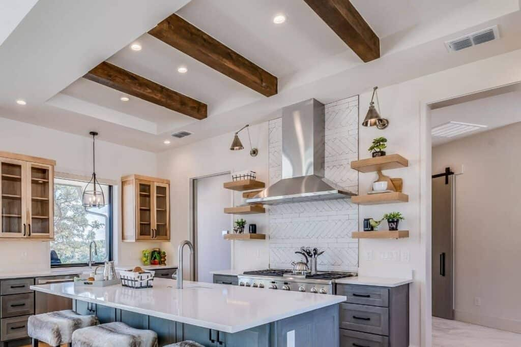 Wood beams on ceiling of kitchen