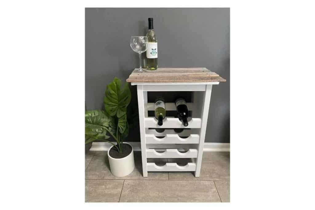 garage sale wine rack makeover white wooden wine rack with grey weathered pallet wood top