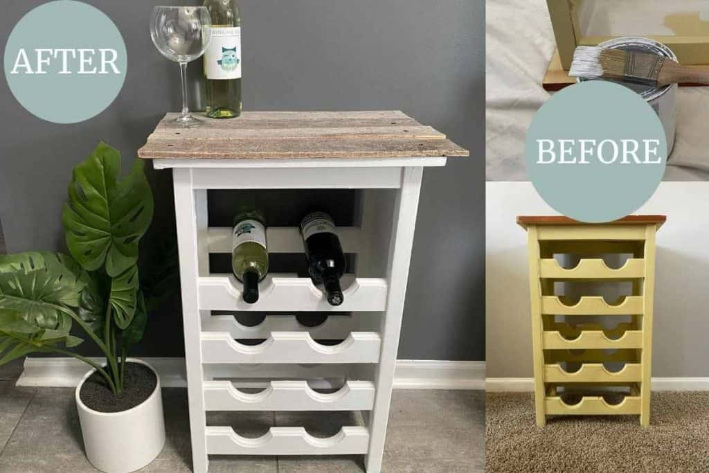 Before and after picture of garage sale wine rack makeover