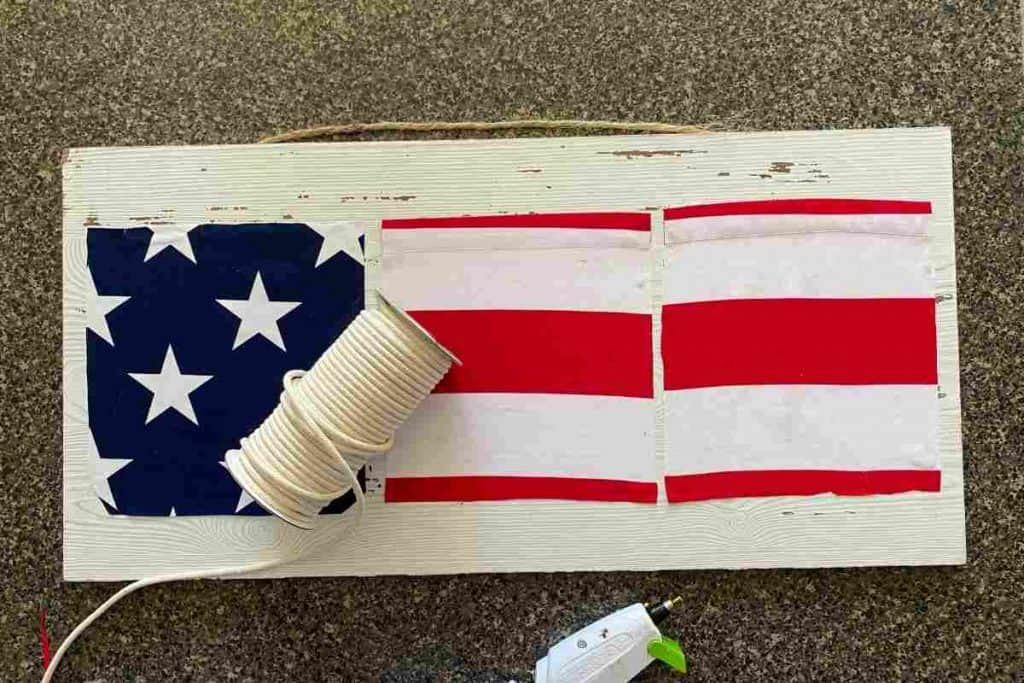 AMERICAN FLAG FABRIC ON WOOD SIGN WITH HEMP CORD