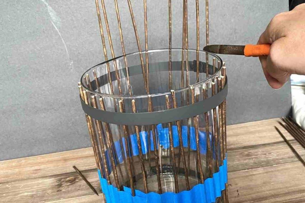 Cut wood skewer to length