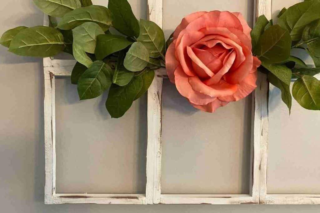 DIY Farmhouse window frame pink rose green stems