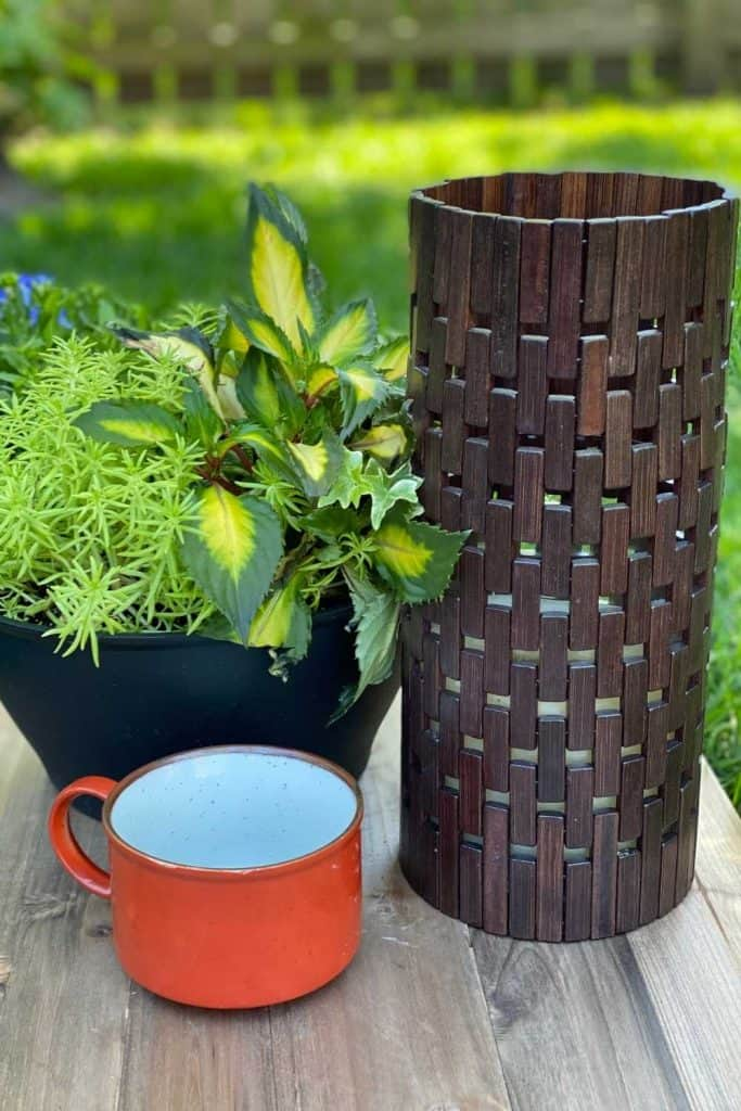 DIY Outdoor Candle Holder and orange coffee cup