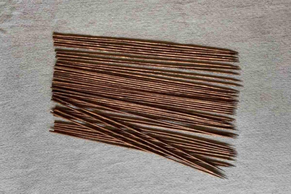 wood skewers after being stained brown