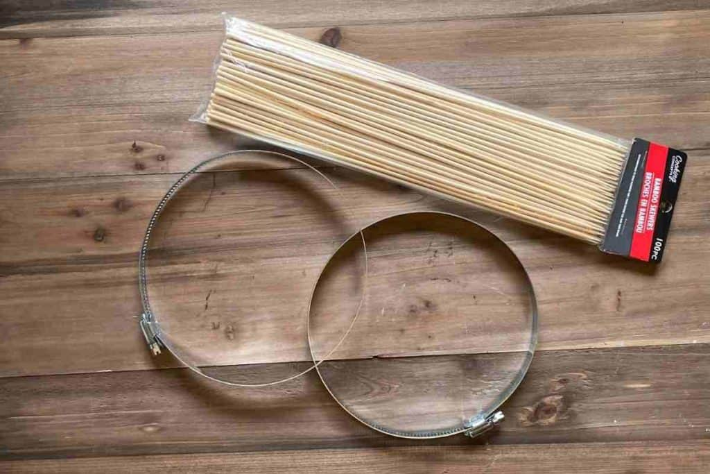 package of wood skewers and two duct clamps
