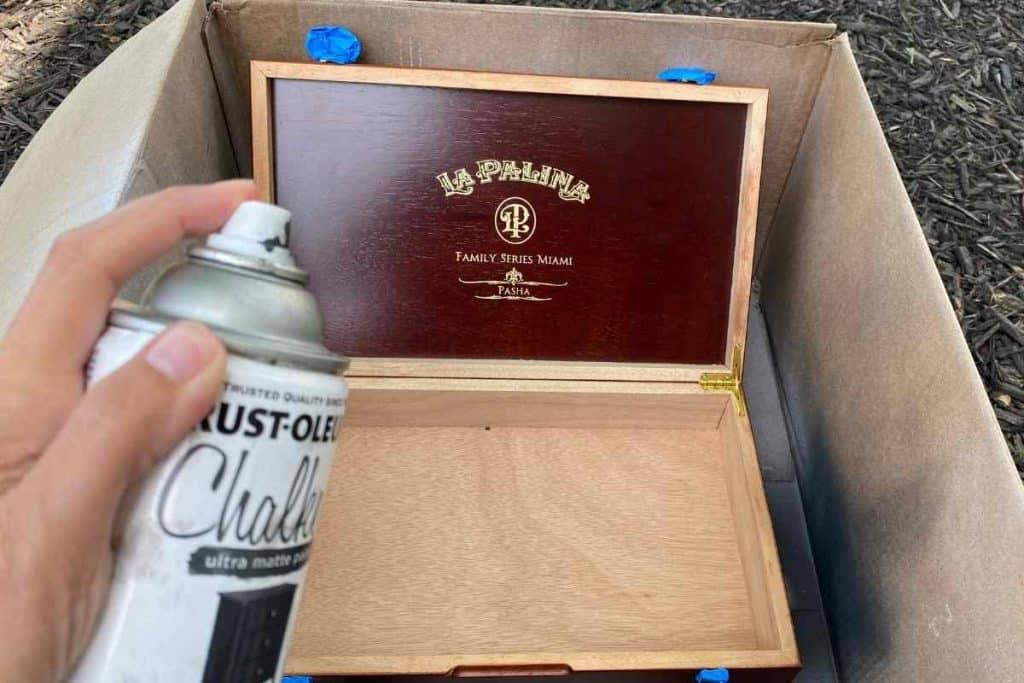 SPRAY PAINT EMPTY CIGAR BOX CHARCOAL