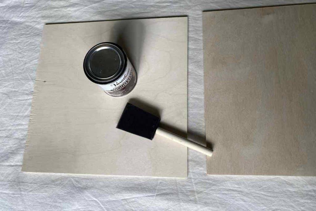 STAIN TOP OF DIY WOODEN LANTERN